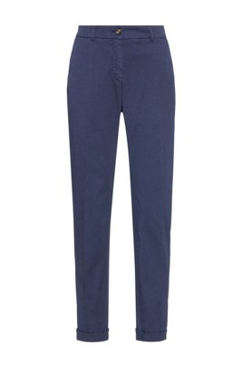 Regular-fit chinos in organic cotton with stretch, Light Blue