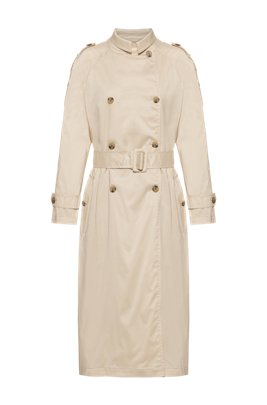 Trench coat in water-repellent cotton-blend fabric, Beige