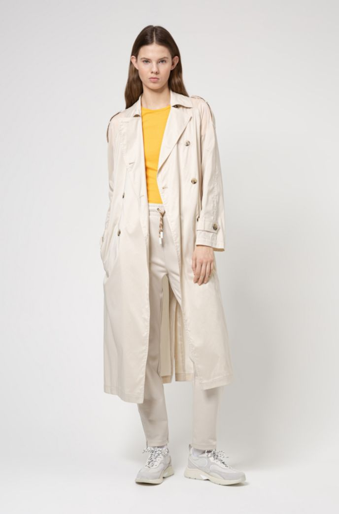 Trench coat in water-repellent cotton-blend fabric