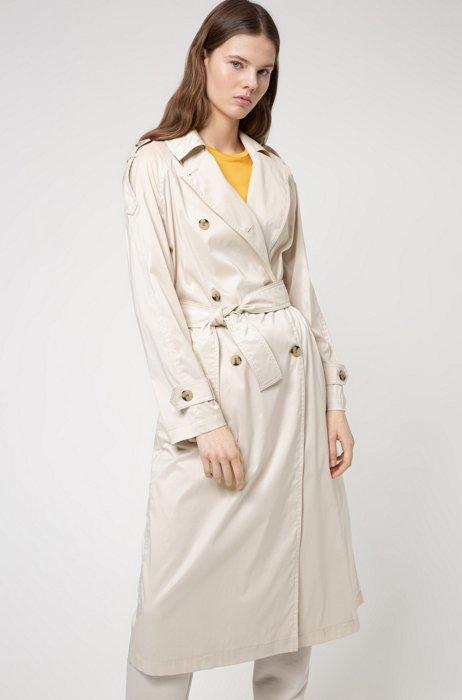 Trench coat in water-repellent cotton-blend fabric, Beige