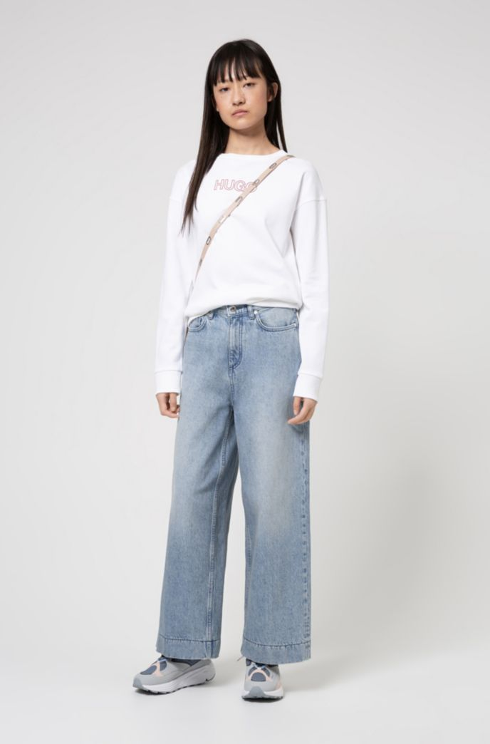 High-waisted wide-leg jeans in pre-shrunk denim