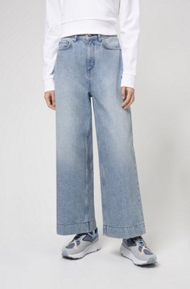 High-waisted wide-leg jeans in pre-shrunk denim, Grey