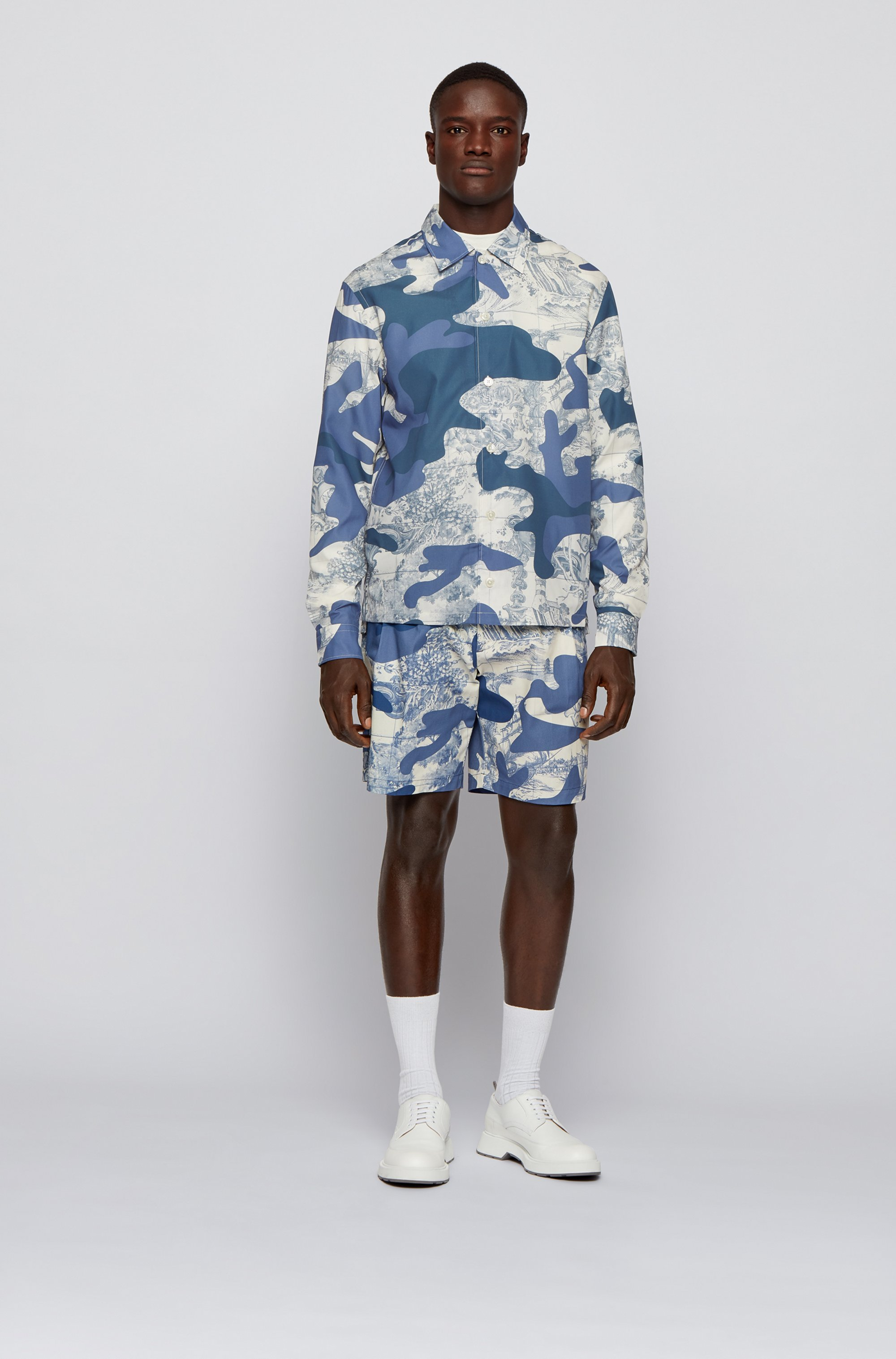 Relaxed-fit overshirt with camouflage and tile print