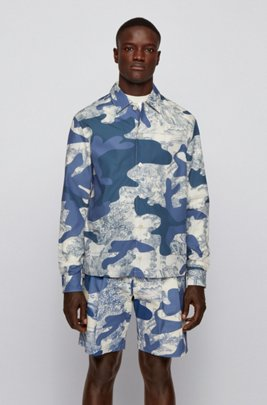 Relaxed-fit overshirt with camouflage and tile print, Blue Patterned