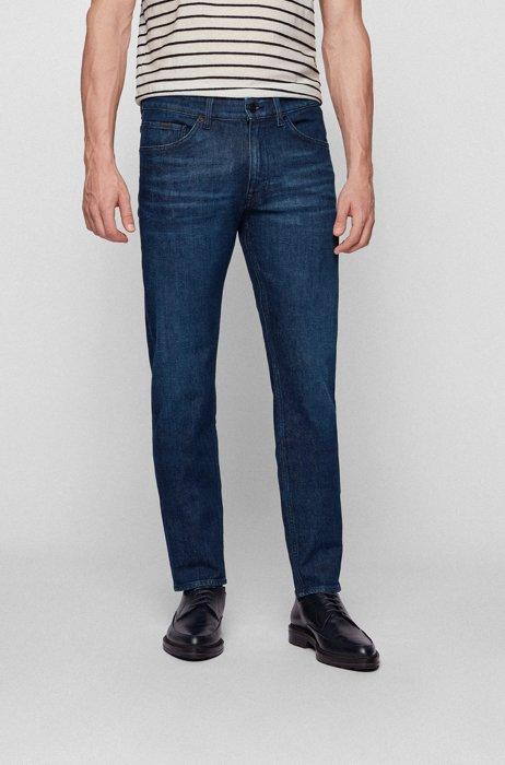 Jeans dal fit affusolato in denim elasticizzato italiano blu scuro, Blu scuro