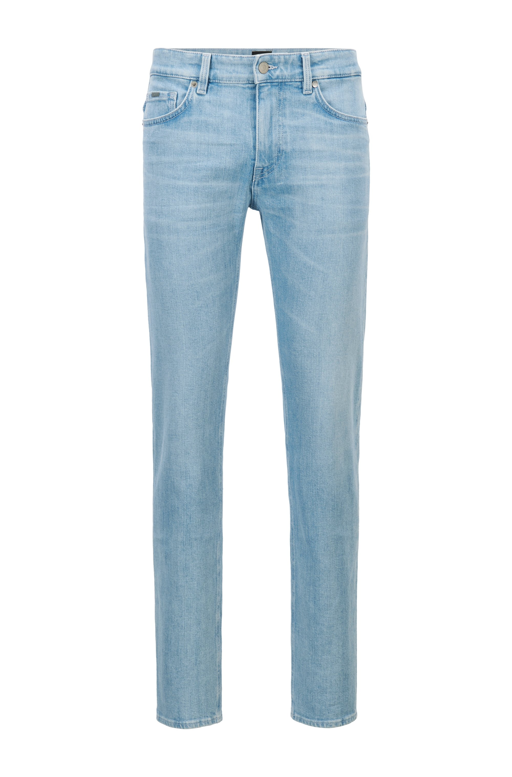 Slim-fit jeans in turquoise Italian stretch denim, Light Blue