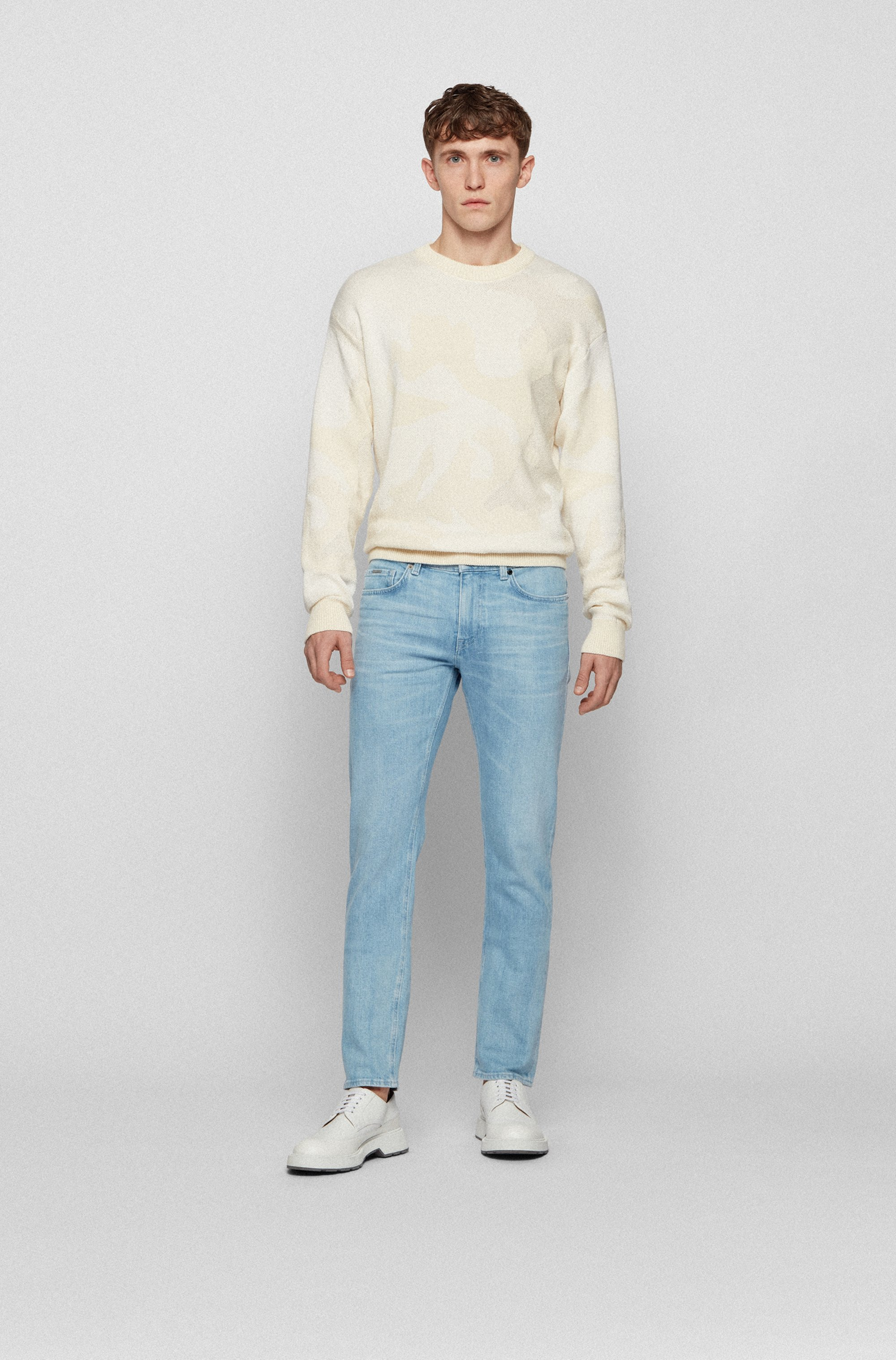 Slim-fit jeans in turquoise Italian stretch denim