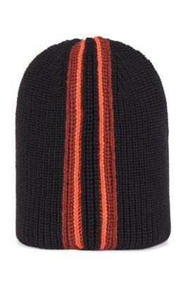 Beanie hat in virgin wool, Black