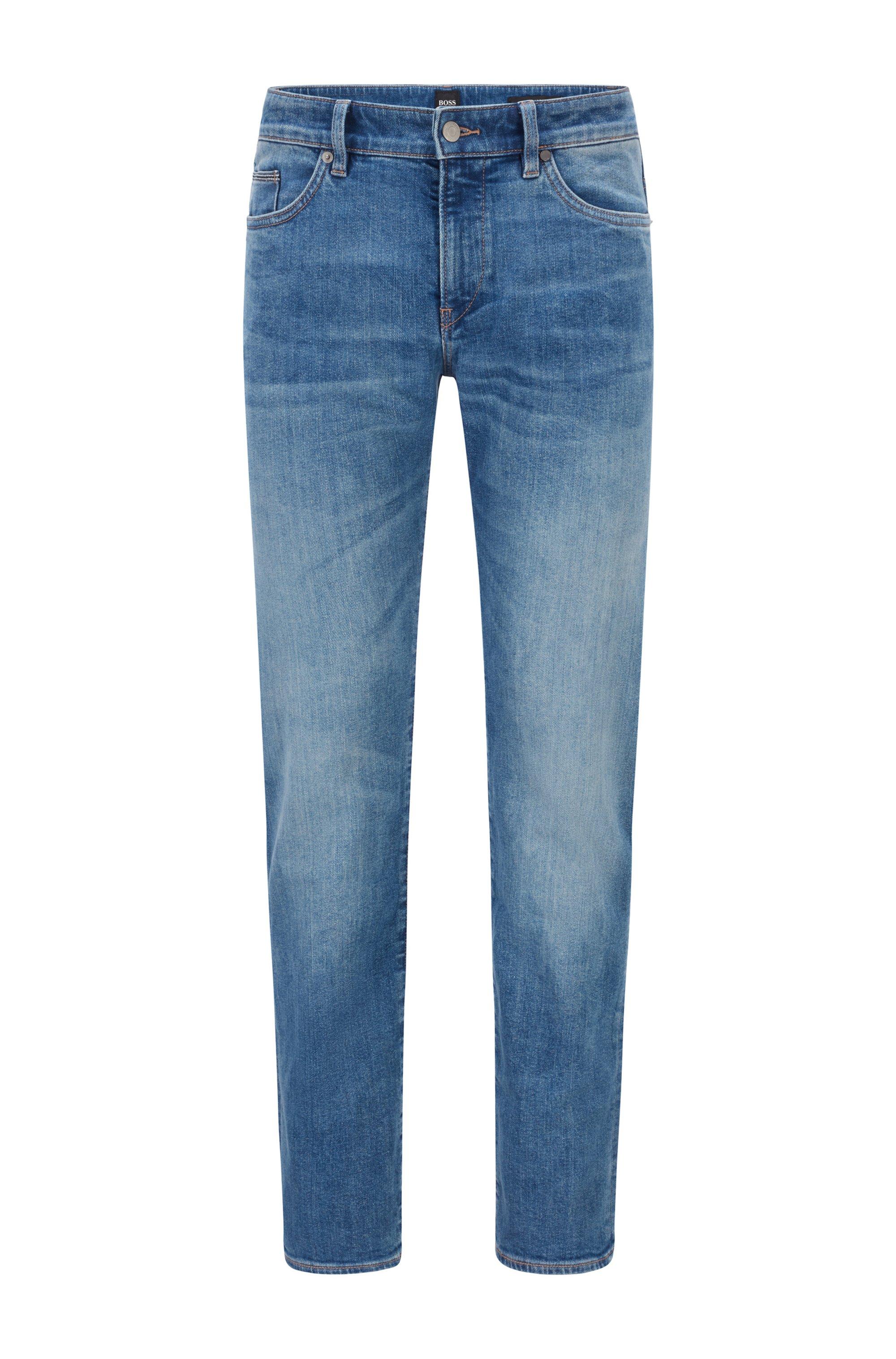 Slim-fit jeans in dark-blue comfort-stretch denim, Blue