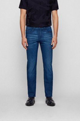 Slim-fit jeans in super-soft Italian stretch denim, Blue