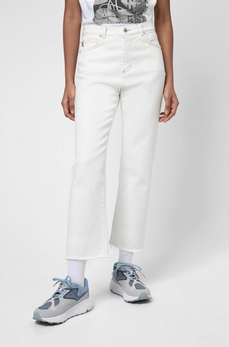 Relaxed-fit jeans in organic-cotton denim with stretch, White
