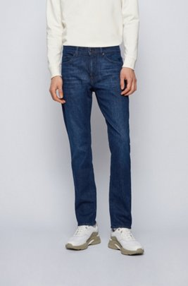 Slim-fit jeans in blue Italian comfort-stretch denim, Dark Blue