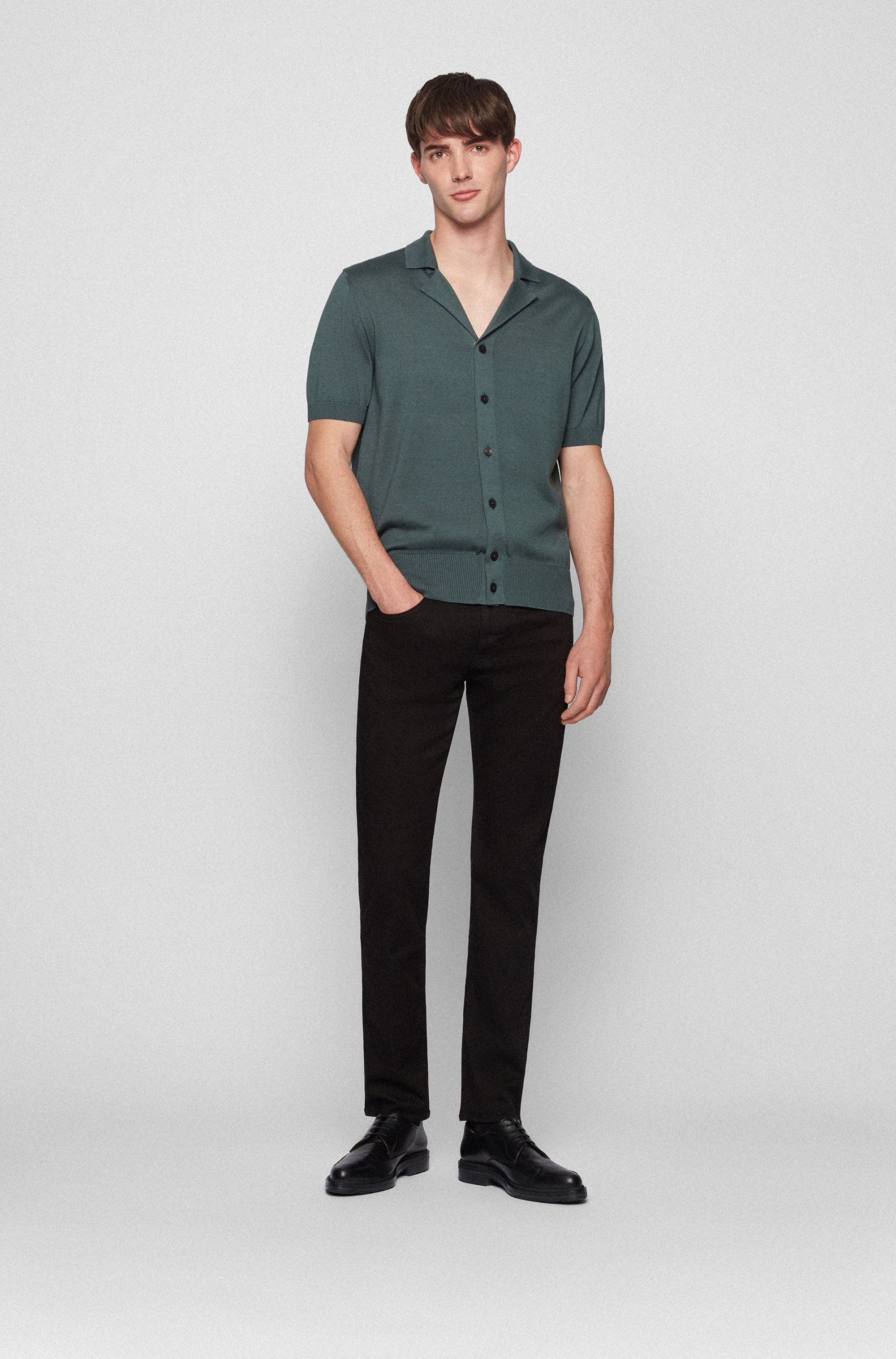 Slim-fit jeans in black cashmere-touch Italian denim