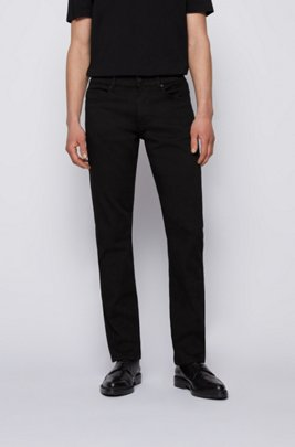Slim-fit jeans in black cashmere-touch Italian denim, Black