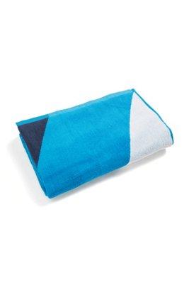 Colour-block beach towel in cotton terry, Blue