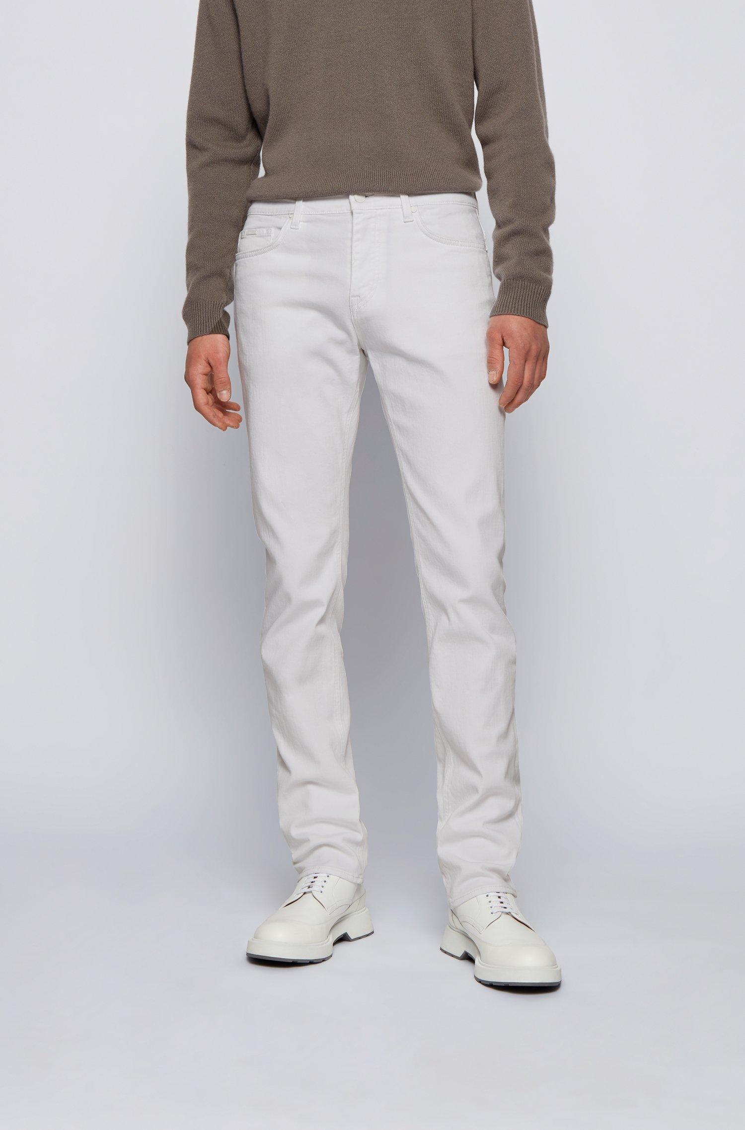 Slim-fit jeans in super-soft Italian stretch denim, White