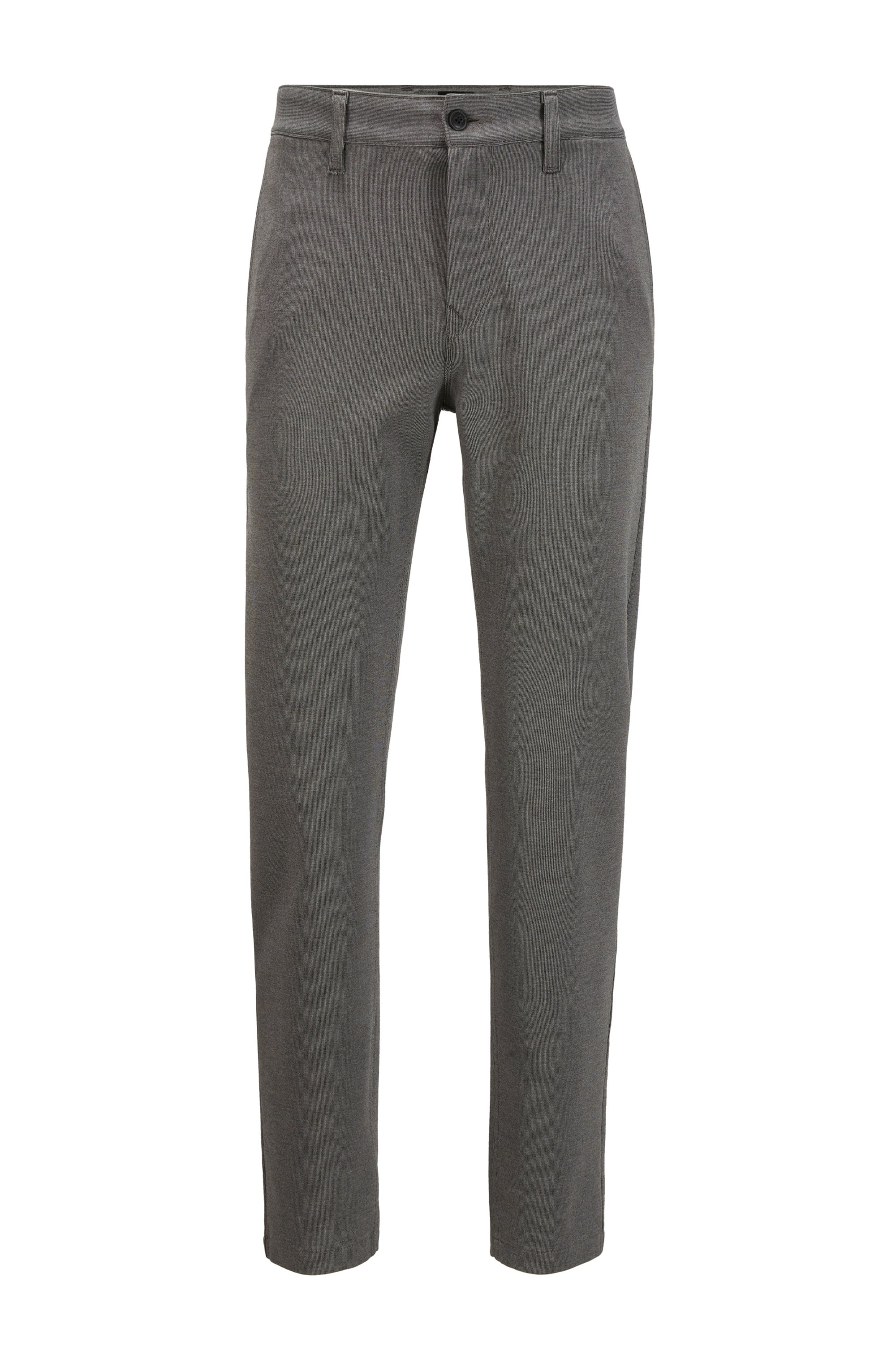 Tapered-fit trousers in micro-structured super-stretch fabric, Dark Grey