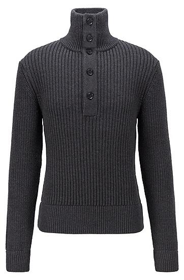 纽扣门襟初剪羊毛针织毛衣,  061_淡灰色