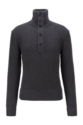 Knitted sweater in virgin wool with button placket, Dark Grey
