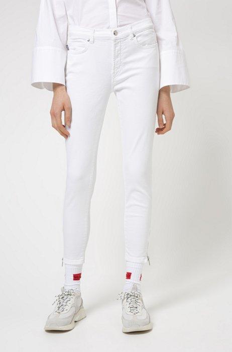 Skinny-fit jeans in coloured stretch denim, White