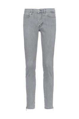 CHARLIE super-skinny-fit jeans with zipped hems, Grey
