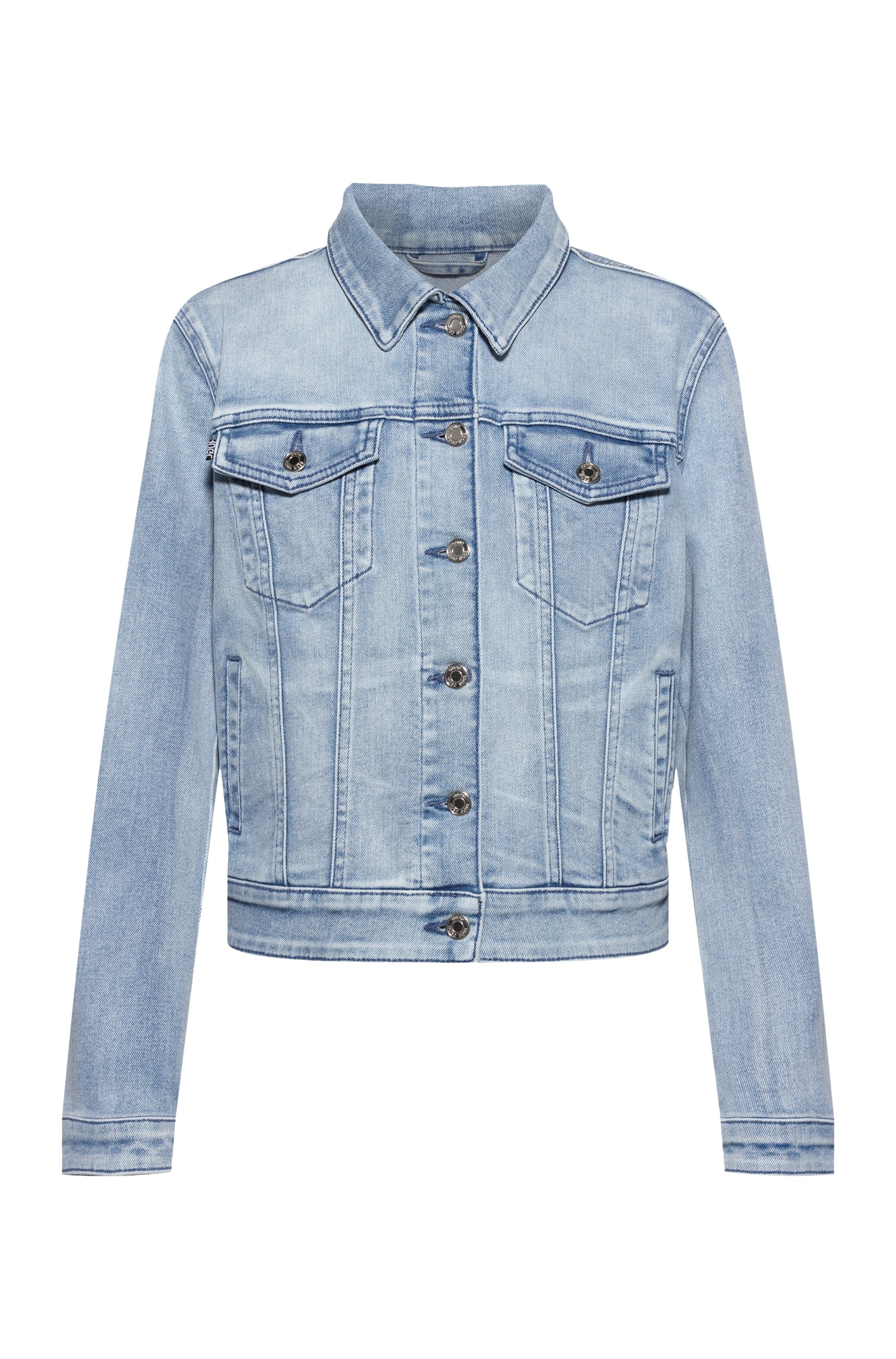 Slim-fit jacket in bright-blue stretch denim, Blue