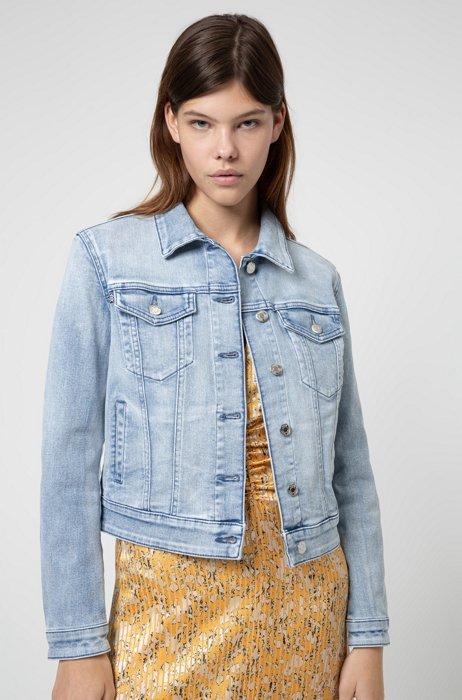 Slim-fit jacket in bright-blue stretch denim, Blue