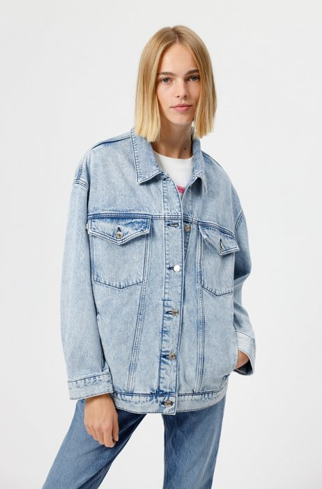 Oversized-fit jacket in Italian denim with rear logo, Turquoise