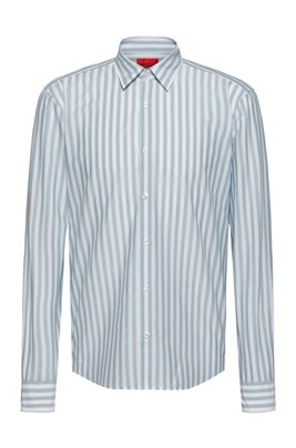 Washed-stripe slim-fit shirt in cotton canvas, Blue Patterned