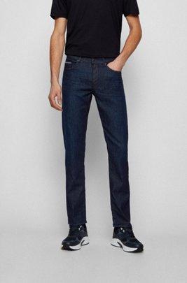 Slim-fit jeans in lightweight dark-blue stretch denim, Dark Blue