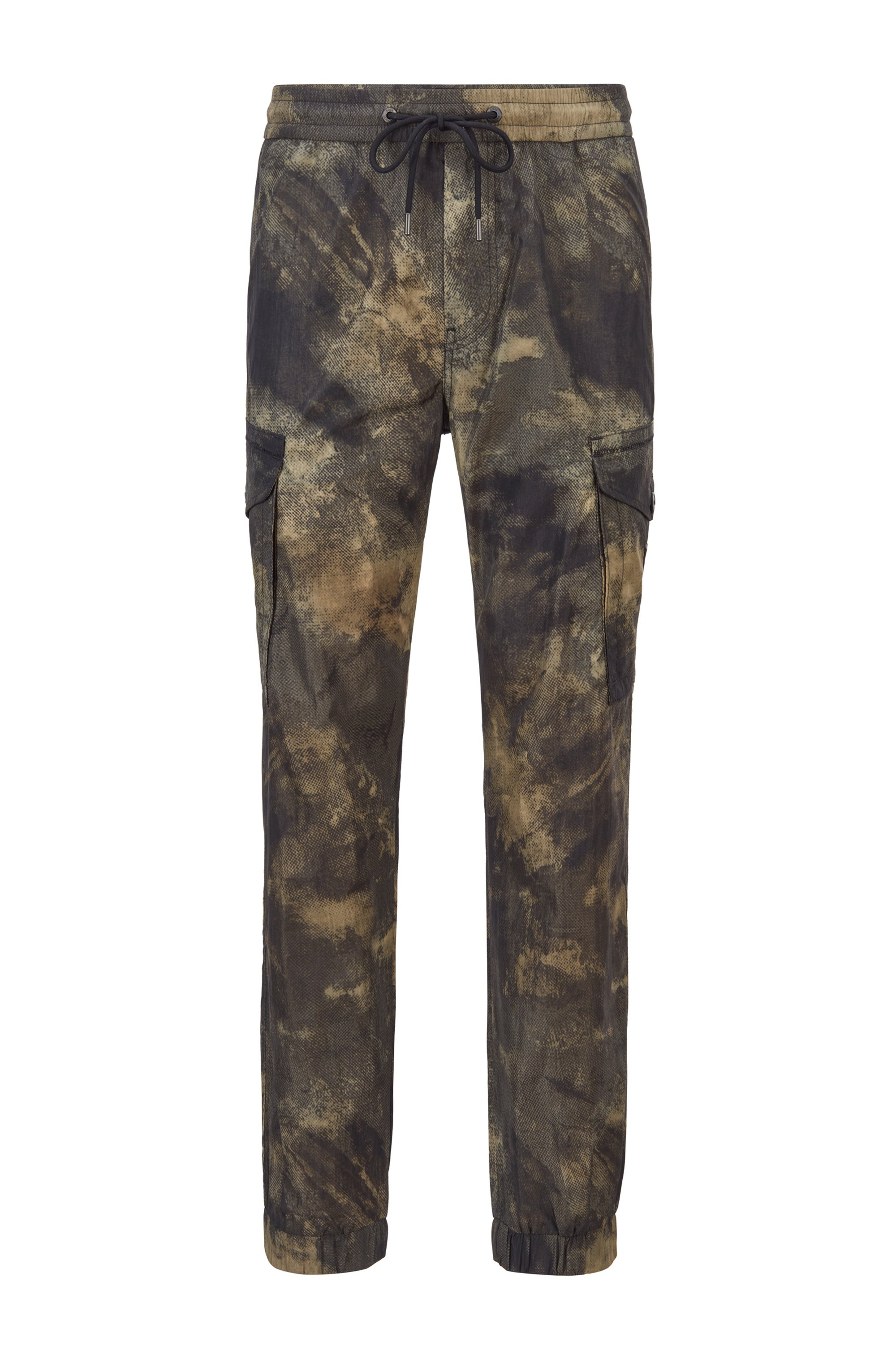 Relaxed-Fit Cargohose mit Camouflage-Print, Beige gemustert