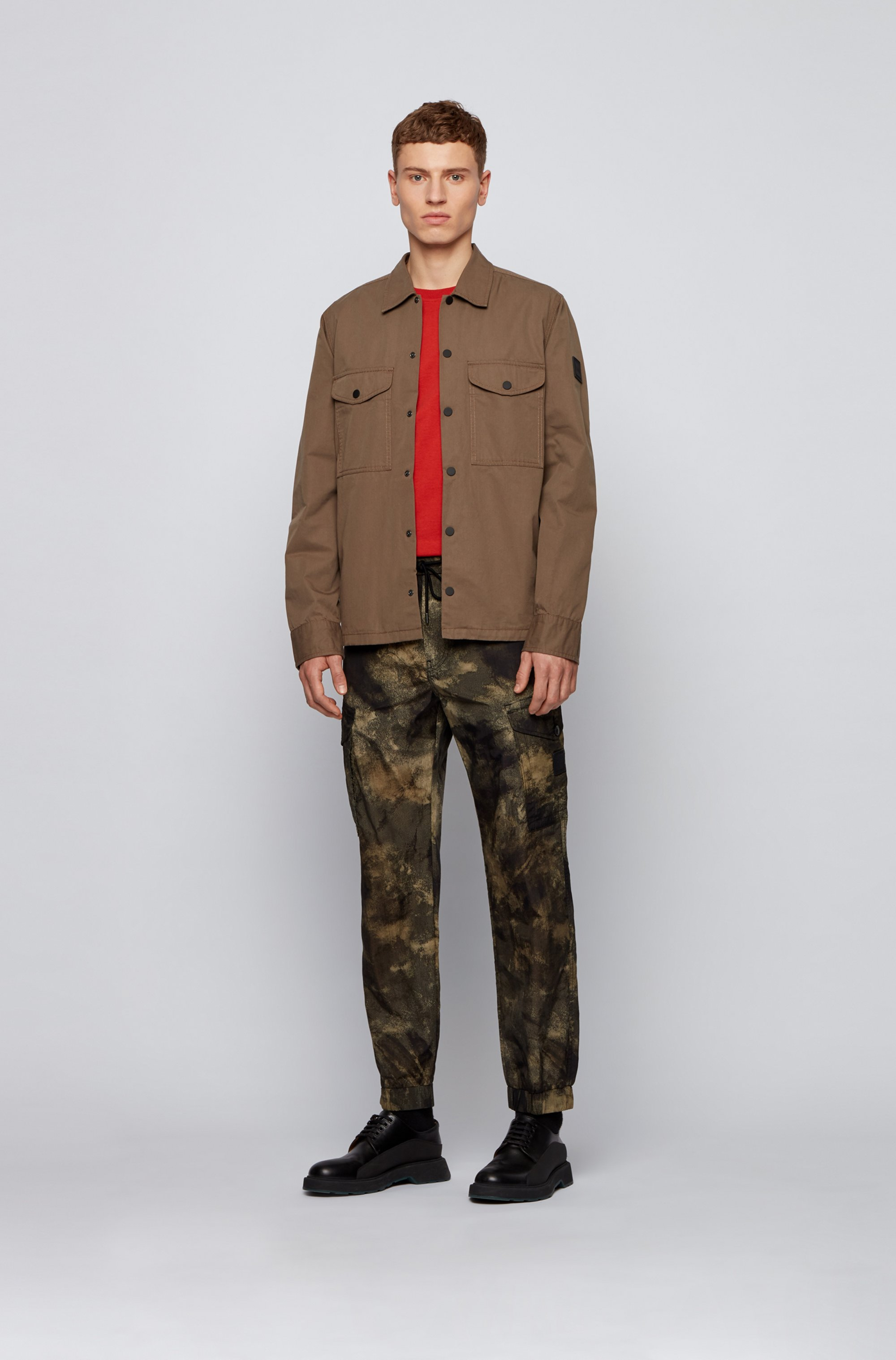 Relaxed-fit cargo trousers with camouflage print