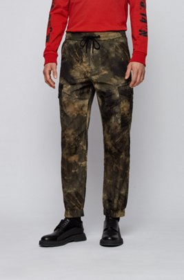 Relaxed-fit cargo trousers with camouflage print, Beige Patterned