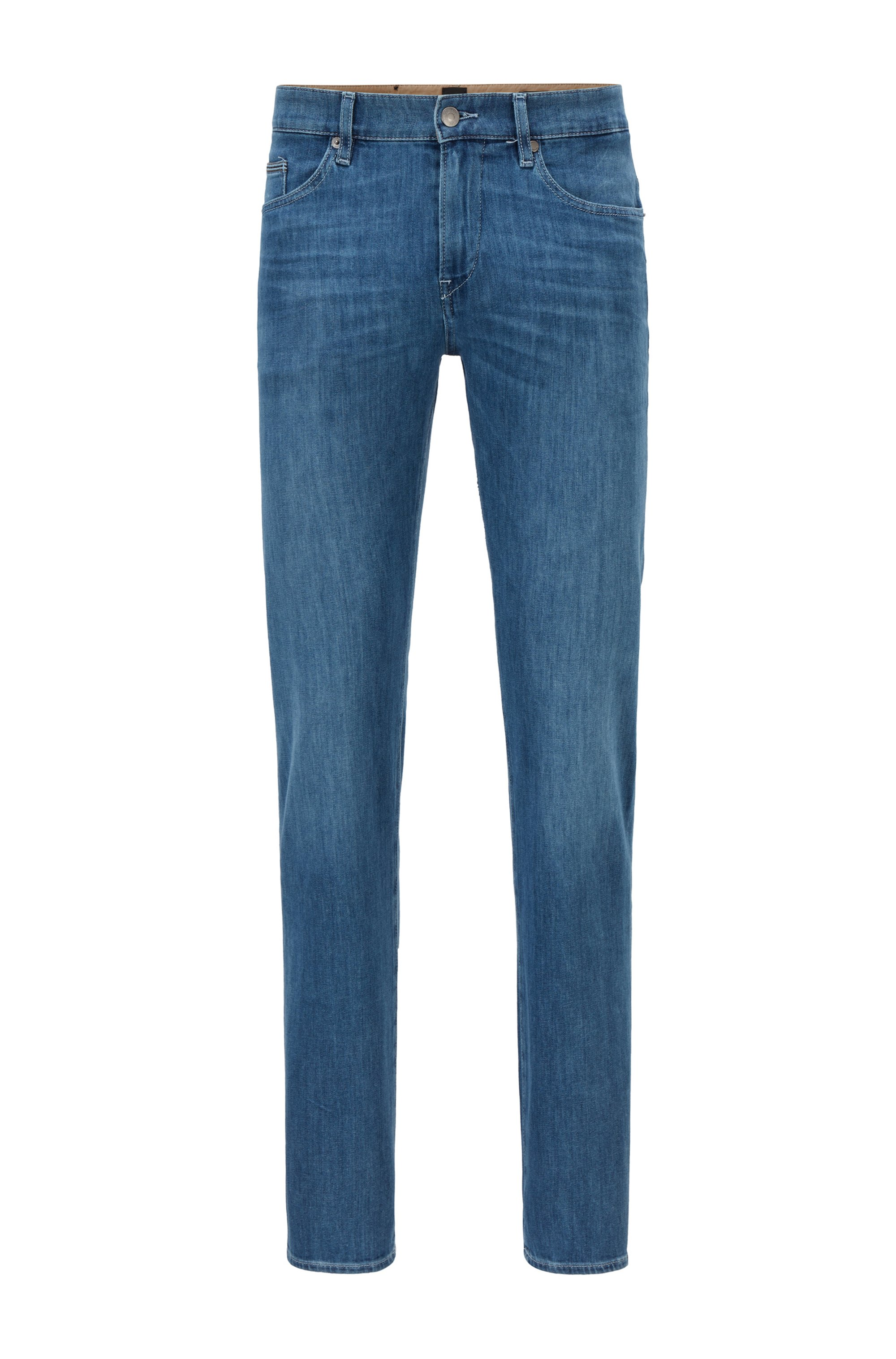 Slim-fit jeans in blue Italian comfort-stretch denim, Blue