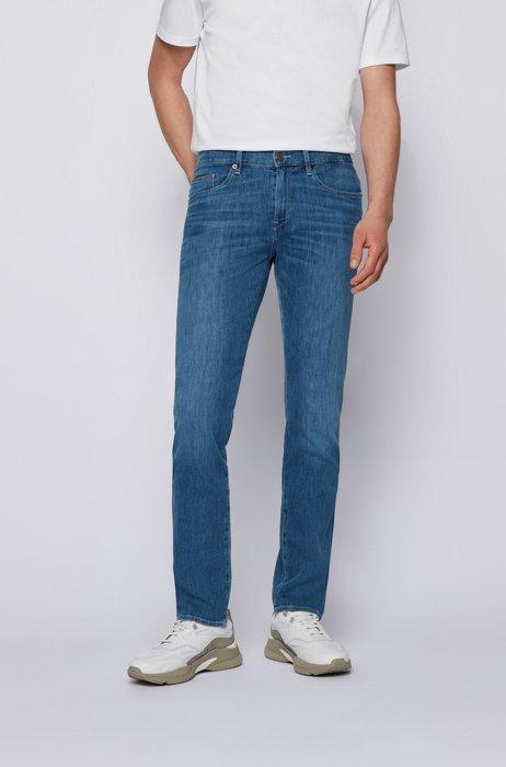 Jeans slim fit in comodo denim elasticizzato italiano blu, Blu
