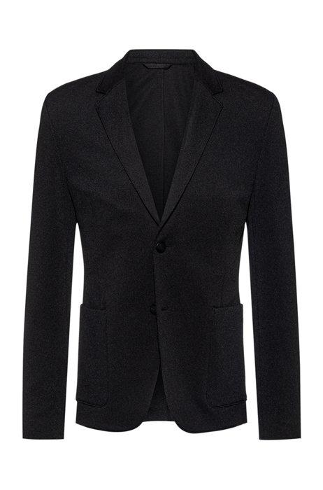 Extra-slim-fit jacket in stretch interlock, Black
