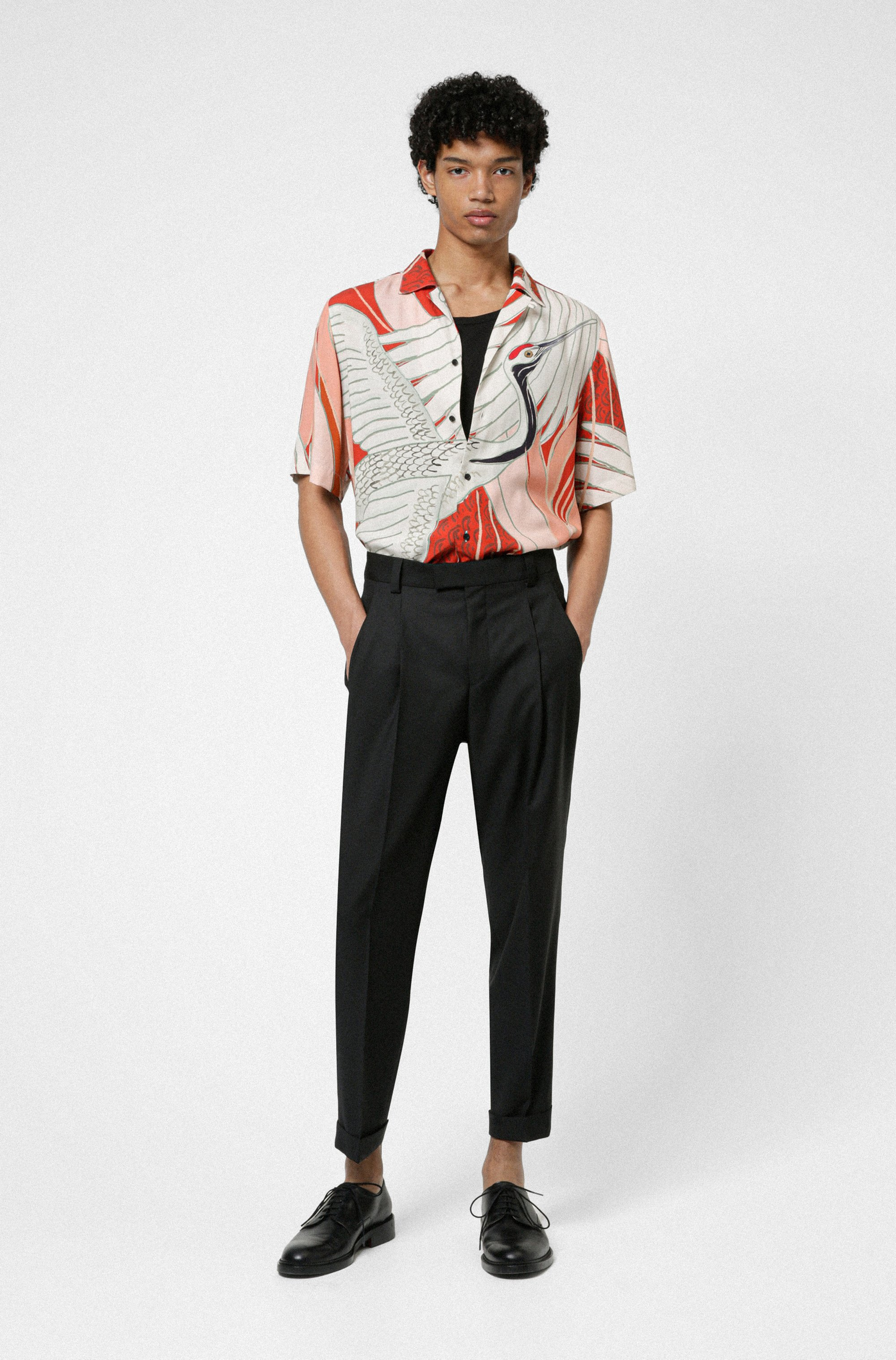 Relaxed-fit shirt with Japanese-crane print