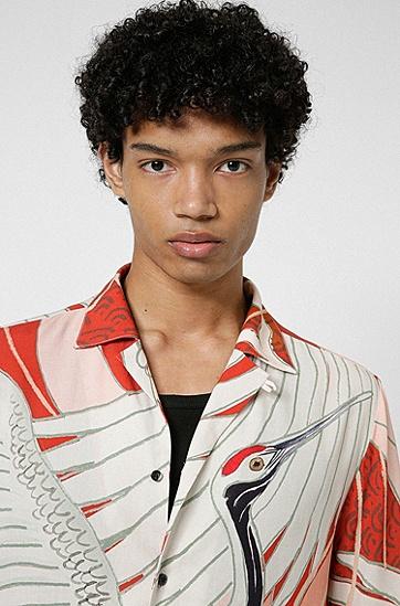 丹顶鹤图案宽松版型衬衫,  239_Light/Pastel Brown