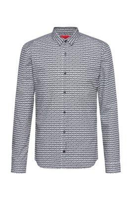 Extra-slim-fit cotton shirt with tyre-print logos, Schwarz gemustert