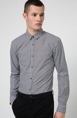 Extra-slim-fit cotton shirt with tyre-print logos, Black Patterned