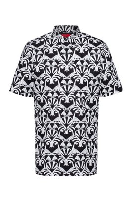 Short-sleeved relaxed-fit shirt with all-over print, Black Patterned