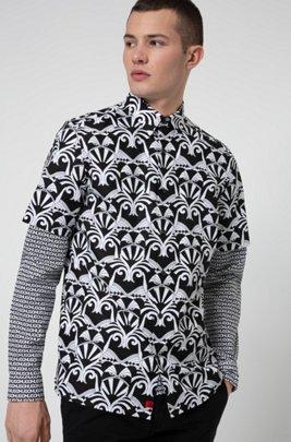 ショートスリーブ リラックスフィットシャツ オールオーバープリント, ブラック パターン