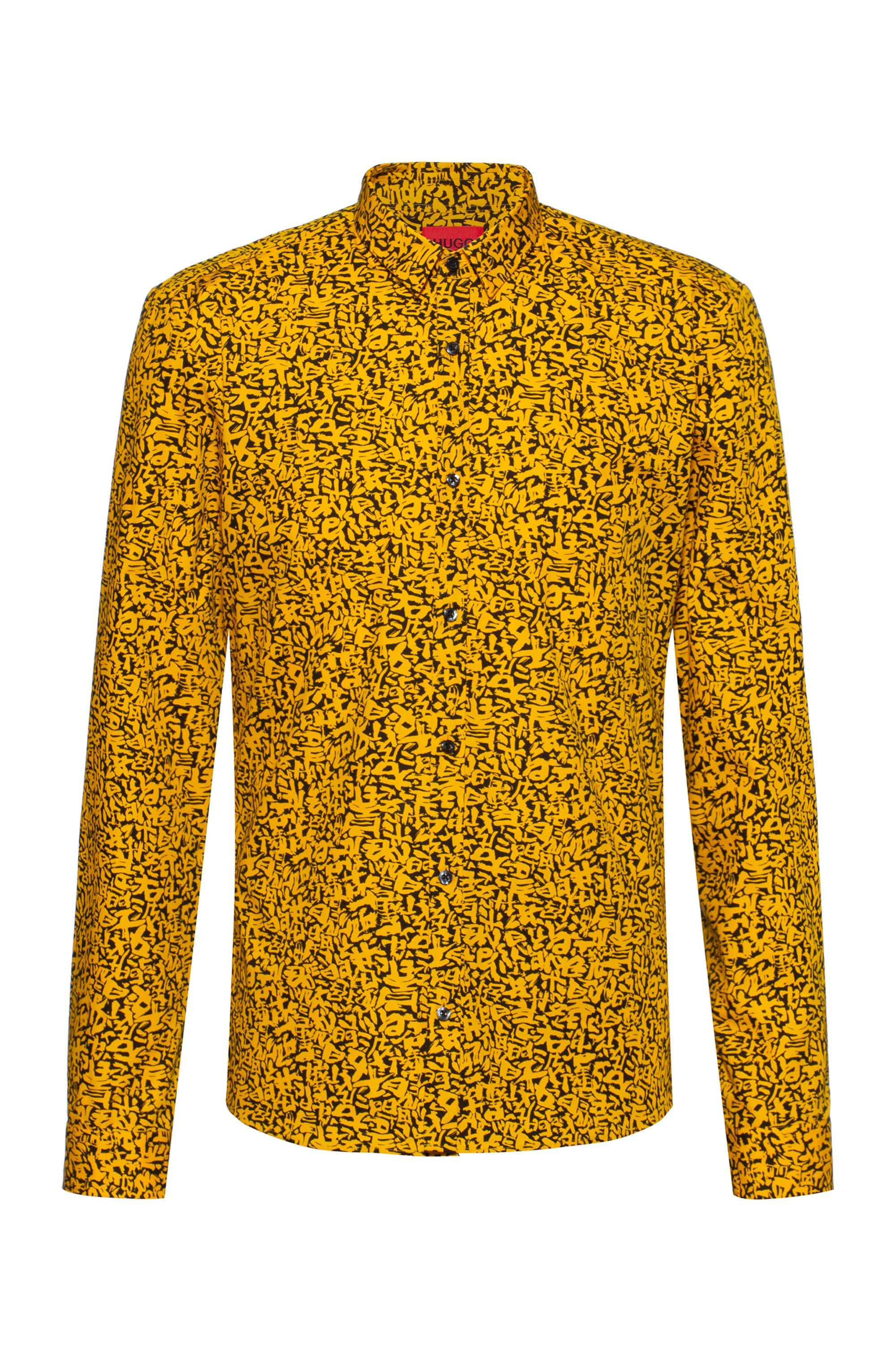 Extra slim-fit overhemd van katoen met Japanse symbolen, Oranje met dessin