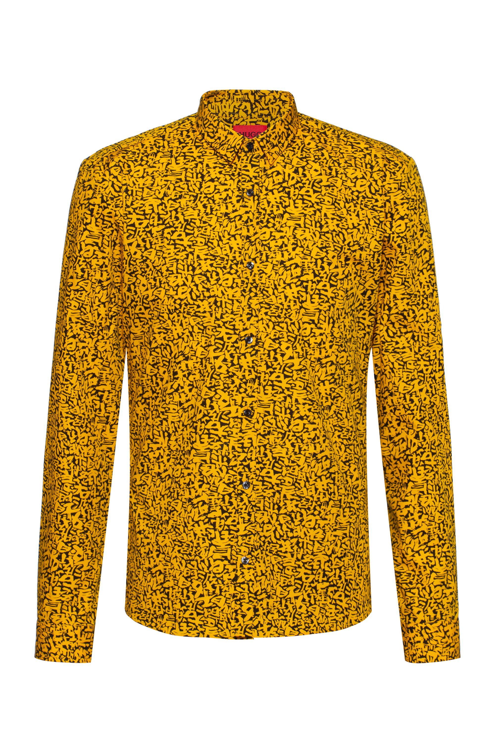 Extra-slim-fit shirt in cotton with Japanese symbols, Orange Patterned