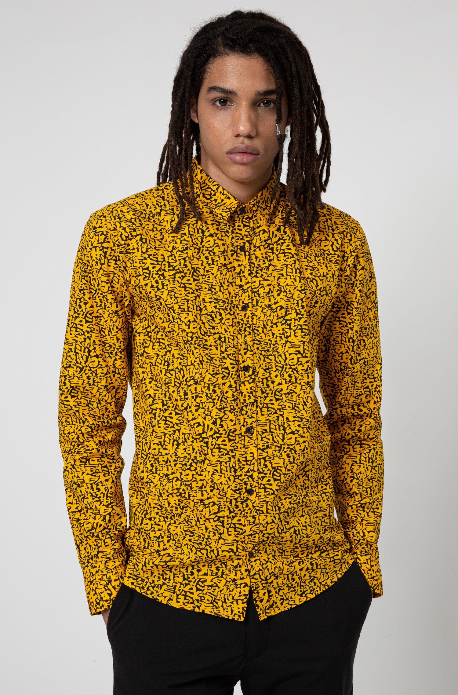 Camicia extra slim fit in cotone con simboli giapponesi, Arancione a motivi
