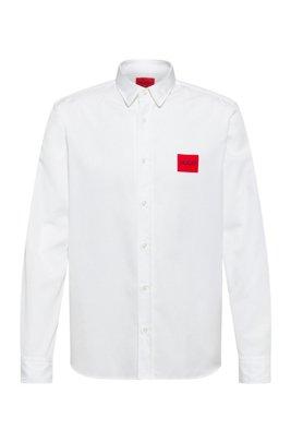Chemise Relaxed Fit à logo rouge et imprimé calligraphique, Blanc