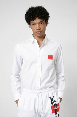 Relaxed-fit shirt with red logo and calligraphy print, White