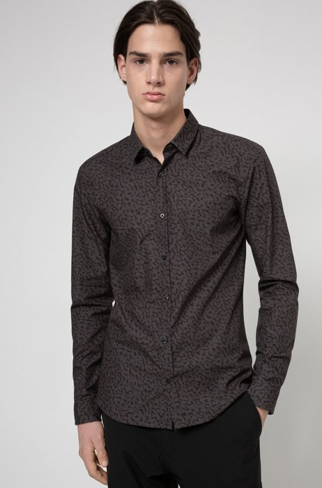 Extra-slim-fit shirt in animal-print cotton, Black Patterned