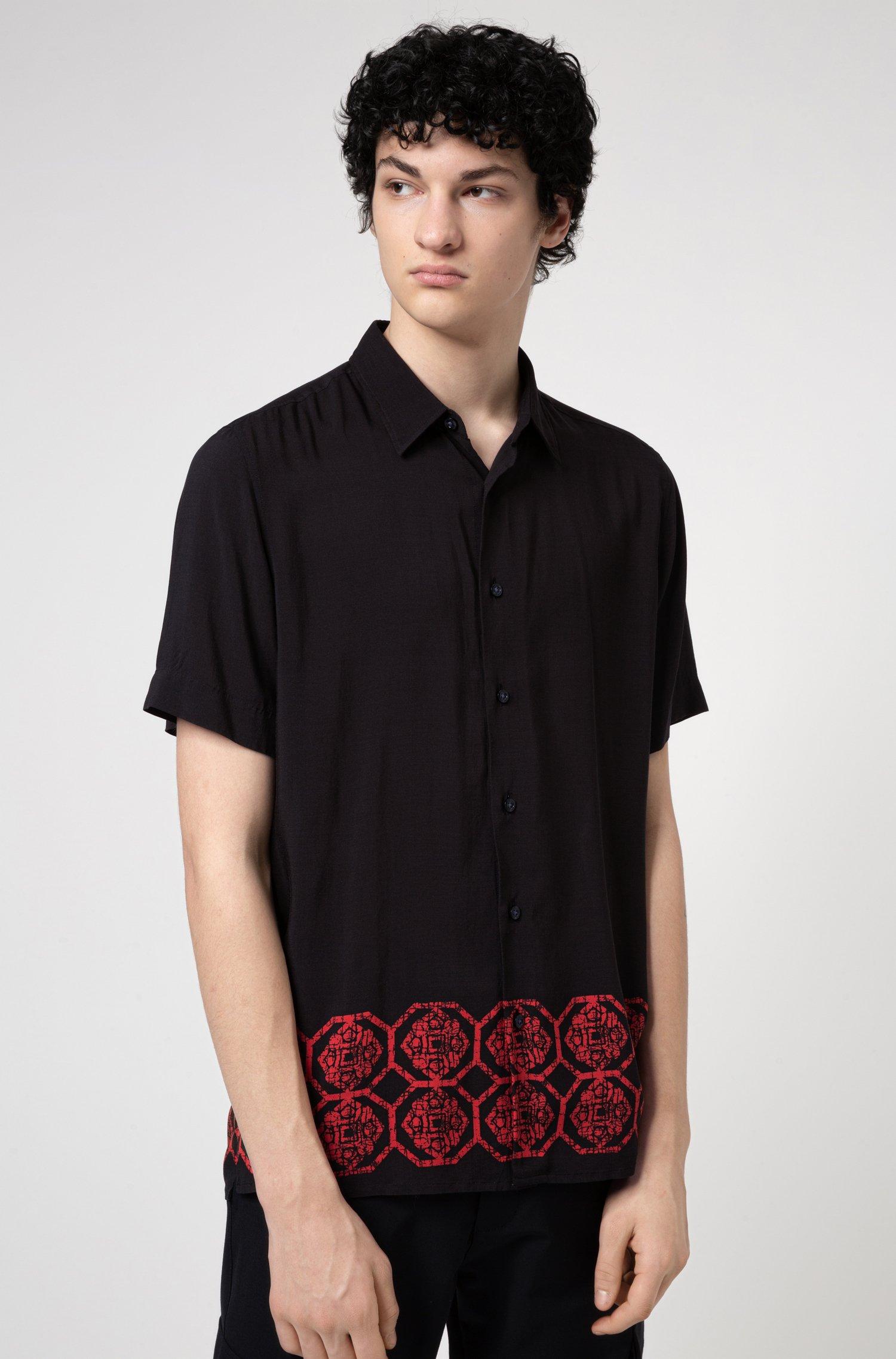 Relaxed-fit overhemd met een ornamentele print bij de zoom, Zwart