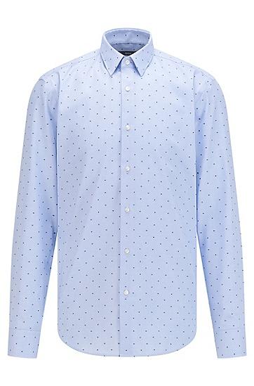 易烫立体剪线棉常规版型衬衫,  451_Light/Pastel Blue